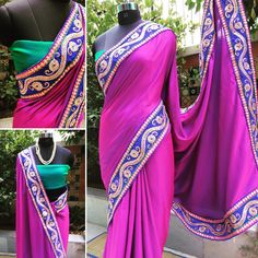 MAHARANI Double shaded satin silk saree in Blue & Purple with broad emroidered border in indigo, magenta, gold & green Blouse: Contrast double shaded in Blue & Green  Price: INR 5200 + shipping  For purchases, email naayaab.online@gmail.com Shipping charges additional as applicable #sarees,#saris, #indiandesigners ,#handmade, #instalove, #desibride, #bollywoodfashion, #style,#indianbeauty, #classy, #instafashion, #indiancouture, #statementpieces, #designersarees, #designersaris…