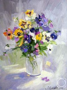 Painting of pansies in a jar Acrylic Painting Flowers, Abstract Flowers, Watercolor Flowers, Watercolor Paintings, Flower Artists, Impressionist Paintings, Arte Floral, Art Oil, Pansies