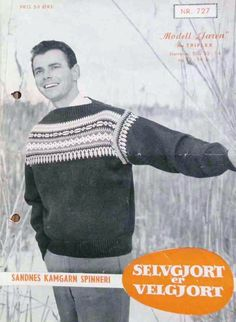 Jæren 727 Embroidery Patterns, Knitting Patterns, Colour Combinations, Vintage Knitting, Jumpers, Tatting, Men Sweater, Retro, Crochet