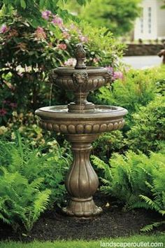 Sunnydaze 2 Tier Contemporary Lion Outdoor Water Fountain, 46 Inch Tall |  Solar Water, Water Fountains And Fountain