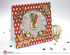 Cómo hacer una tarjeta de Navidad con reloj incorporado  #shaker #card #tarjeta #postal #craft #scrapbooking #manualidades #navidad #xmas