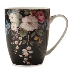 Maxwell Williams William Kilburn Mug Midnight Blossom 400m ($7.20) ❤ liked on Polyvore featuring home, kitchen & dining, drinkware, fillers, mugs, accessories, cups, coffee tea mugs, coffee cup and tea cup