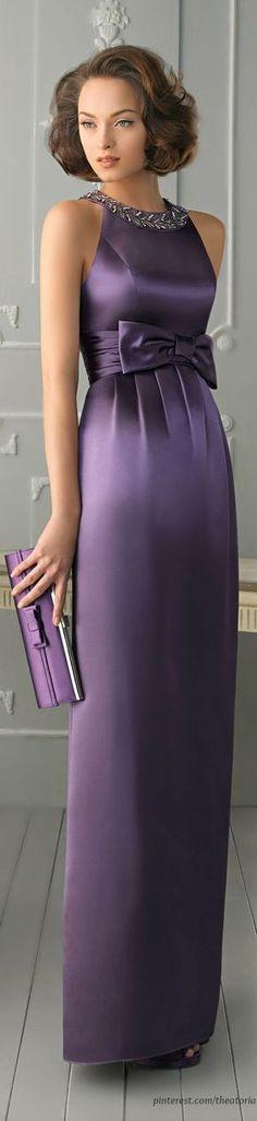 Simple Sheath/Column Halter Beading Bow(s) Floor-length Satin Prom Dresses/ Party dresses/ Formal dresses/ Evening dresses Violet Dresses, Lace Dresses, Purple Dress, Elegant Dresses, Pretty Dresses, Short Dresses, Purple Satin, Lilac, Purple Haze