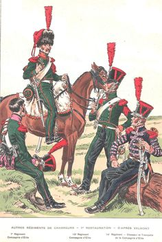 Chasseurs a Cheval, Restoration L to R Regt, Chasseur of… Army Uniform, Military Uniforms, French Army, Napoleonic Wars, Restoration, Empire, History, Flags, France