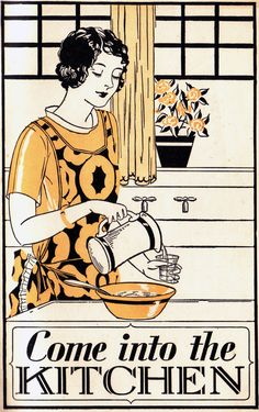 Retro - love the print on the pinnie Vintage Love, Vintage Ads, Vintage Images, Vintage Posters, Vintage Prints, Vintage Kitchen, 1920s Kitchen, Vintage Cooking, Vintage Housewife