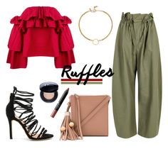 """Add Some Flair: Ruffled Tops"" by mariannamic on Polyvore featuring Elizabeth and James, STELLA McCARTNEY, Erika Cavallini Semi-Couture, Matiko, NARS Cosmetics, Christian Dior, Vanessa Mooney, casual, bright and ruffles"