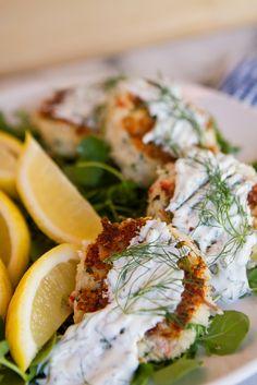 Barramundi Fish Cakes recipe with Double Cream yogurt sauce   Yummm!