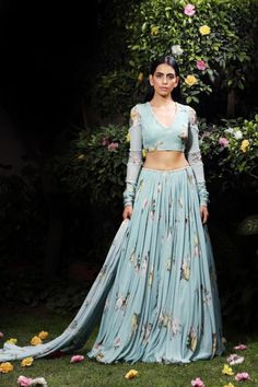 By Designer Mahima Mahajan, This Set Features A Aquamarine Silver Heavy Embellished Rawsilk Blouse, Organza Lehenga And Four Side Scallop Dupatta Set. Indian Attire, Indian Wear, Indian Outfits, Indian Dresses, Chanya Choli, Corset Blouse, Types Of Sleeves, Full Sleeves, Indian Designer Wear