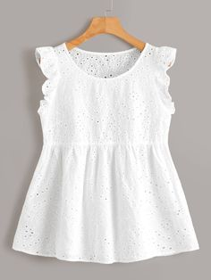 To find out about the Ruffle Armhole Schiffy Smock Blouse at SHEIN, part of our latest Blouses ready to shop online today! Cute Blouses, Blouses For Women, Frocks For Girls, Girls Dresses, Pretty Outfits, Cute Outfits, Girl Outfits, Casual Outfits, Mode Top