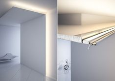 NISA-KRA - construction and illumination of niches with thin edges. Cove Lighting Ceiling, Led Shelf Lighting, Corridor Lighting, Indirect Lighting, Strip Lighting, Led Light Design, Ceiling Light Design, Modern Lighting Design, Lighting Concepts