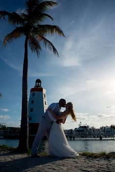 """""""Because all of you has all of me...""""  Beautiful photos done by Mark from last weeks wedding! All our best to you two! #Wedding #Lighthouse #FaroBlanco #Pictures #PalmTree #Nautical #Paradise #WeddingGown #Bride #Groom #Venue"""