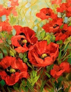 Unfurled+-+Red+Poppies+by+Texas+Flower+Artist+Nancy+Medina,+painting+by+artist+Nancy+Medina