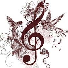 Vector pattern with bird and music notes - Millions of Creative Stock Photos, Vectors, Videos and Music Files For Your Inspiration and Projects.<br> Vector - Vector pattern with bird and music notes Music Tattoo Designs, Music Tattoos, Music Designs, Tatoos, Musik Wallpaper, Treble Clef Tattoo, Treble Clef Art, Music Notes Art, Music Music