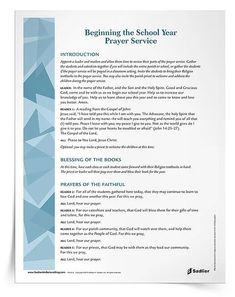 Resources for Starting a New Year of Catholic Religious Education Catholic Religious Education, Catholic School, Catholic Prayers, End Of School Year, Beginning Of School, Childrens Prayer, School Prayer, Prayer Service, Catechist