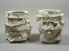 """Monika Patuszynska, Warszawa, Poland Cast ceramics """"...perhaps those seams and edges from the casting process, those that we strive to remove yet so persistently re-appear, are in fact an essential part of the clay, its tendency, its want.{"""