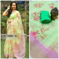 Pista color Pure organza digital print party wear saree with banglori silk blouse, designer saree, saree for women Lace Saree, Organza Saree, Sari, Lehenga Choli, Indowestern Saree, Designer Silk Sarees, Party Wear Lehenga, Green Saree, Fancy Sarees