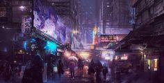 ArtStation - Cyberpunk Busy Street , Donglu Yu