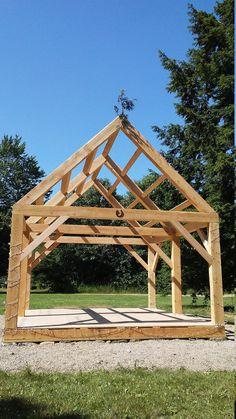 Timber Frame Cabin, Timber House, Timber Frame Garage, Timber Frame Home Plans, Carport Plans, Shed Plans, Timber Posts, Wood Shop Projects, Cabin Kits