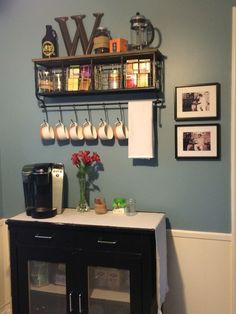 Coffee bar! Mugs from Target. Shelf with baskets and hooks from Hobby Lobby.