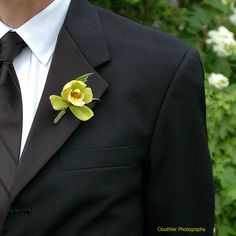 Stoneblossom Florals' Details green orchid boutonniere