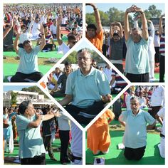 अंतर्राष्ट्रीय योग दिवस के अवसर पर पटना के मोइनुल हक़ स्टेडियम में योग करते हुए...