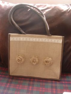 Decorations added on a burlap (hessian) bag.