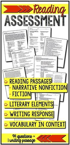 Reading assessment: standards-based exam that covers literary elements, reading comprehension questions (two reading passages - one fiction, one nonfiction), vocabulary in context, and writing response. Great for end-of-the-term, diagnostic test, or practice for standardized tests. Grades 8, 9, 10