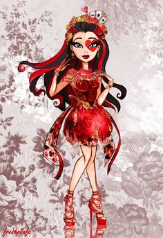 Lizzie Hearts Spring Unsprung by FreshPlinfa-Ivy on deviantART, Ever After High Ever After High, Lizzie Hearts, Queen Of Hearts, Monster High Art, Monster High Dolls, Deidara Wallpaper, Ever After Dolls, Raven Queen, Heart Art