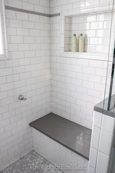 We chose shiny white subway tile with light gray grout for the walls, with an accent line of gray tile. We chose shiny white subway tile with light gray grout for the walls, with an accent line of gray tile. Upstairs Bathrooms, Laundry In Bathroom, Basement Bathroom, White Tile Bathrooms, Shower Bathroom, Plum Bathroom, Remodled Bathrooms, Bathroom Modern, Bathroom With Gray Tile