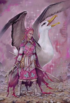'Morag Heron' of Wildwood-coven wearing the colours of season Flower-Forth. With her is Solhar, one of the four guardians of Hethra & Halla, summoned by one of the four 'Swords of Britain'.
