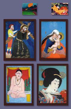 Zur Ausstellung Künstler des Blauen Reiters in der Fondation Beyeler in Riehen: Da in Murnau im 19. Jahrhundert eine der wichtigen Manufakturen der Hinterglasmalerei angesiedelt war, stiess die Künstlergruppe dortvor Ort auf Hinterglasbilder, deren stilisierte Darstellungsart und reine, kräftig leuchtende Farben in gewissem Sinn vorweggenommen hatte, was sie für sich entdeckten. Die vier Abbildungen zeigen je ein Beispiel aus Spanien, aus Murnau, aus Indien und Japan, aus dem 19…