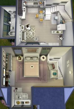Small White House - The Sims 4 Tiny Living Pack Stuff Build Sims 4 House Plans, Sims 4 House Building, Small House Floor Plans, Sims 4 Houses Layout, House Layouts, Sims 4 Loft, Sims 4 Challenges, Studio Apartment Floor Plans, Sims Freeplay Houses