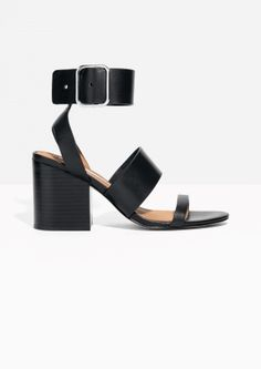 & Other Stories image 1 of Square Buckle Leather Sandalette in Black