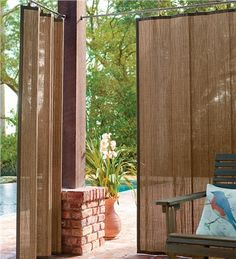 Outdoor Bamboo Curtain Panel, 40%26quot;W x 63%26quot;L