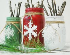 Holiday Star Christmas Jar set Farmhouse by PineknobsAndCrickets