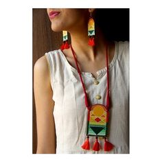 Hand-painted jewellery inspired by Indian painter S H Raza's paintings. Diy Clay Earrings, Fabric Earrings, Fabric Jewelry, Jewelry Art, Fashion Jewelry, Diy Jewellery Designs, Fancy Jewellery, Handmade Jewellery, Teracotta Jewellery
