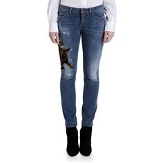 Dolce & Gabbana Embroidered Kitten Skinny Jeans (£1,185) ❤ liked on Polyvore featuring jeans, apparel & accessories, blue, blue jeans, slim fit jeans, distressed jeans, slim jeans and blue skinny jeans