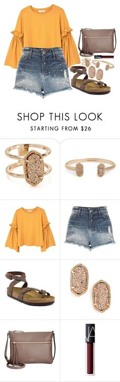 """jealous again"" by legitimately-kierstin ❤ liked on Polyvore featuring Kendra Scott, MANGO, River Island, Birkenstock, Kate Spade and NARS Cosmetics"
