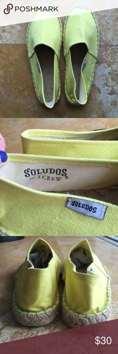 Yellow Soludos for JCrew NWOT Yellow soludos for JCrew. Size 37. I bought them from another seller thinking they were size 7. I think they would fit a 6. Never work. In perfect condition. Soludos Shoes Espadrilles