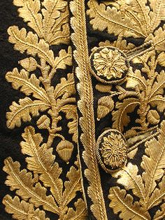 Passementerie buttons on an century men's embroidered coat. Zardozi Embroidery, Gold Embroidery, Military Looks, 18th Century Costume, Passementerie, Brocade Fabric, Gold Work, Historical Costume, Embroidery Techniques