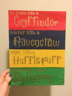 Costumes Harry Potter Harry Potter Hogwarts House Traits Canvas - This canvas panel includes the traits each Hogwarts house espouses.Ask about customization! Baby Harry Potter, Harry Potter Motto Party, Harry Potter Canvas, Harry Potter Thema, Cumpleaños Harry Potter, Harry Potter Painting, Harry Potter Nursery, Harry Potter Classroom, Harry Potter Baby Shower