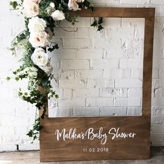 How's this for a Polaroid frame!! Perfect to match a rustic styled baby shower, paired with a beautiful flower garland to hire from…
