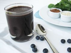 Dr. Oz Chocolate Covered Blueberries Green Smoothie: coconut milk, blueberries, spinach, cacao, almond butter, protein powder, cinnamon, stevia and flaxseed