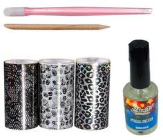 2013 New Nail Art Tips Design 3 Grey Type Nail Transfer Foils Kit Adhesive Creative DIY Set -- Click image to review more details.