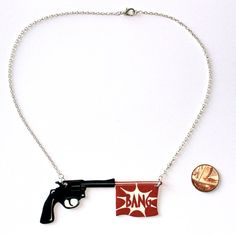 Bang Gun Necklace 16 inch silver plated chain by sourcherrycouk, £8.45