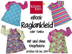 eBook Raglankleid o. Tunika mit Knopfleiste 56-164 von Klimperklein auf DaWanda.com