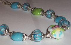 Sale 40 OffUnique Blue and Green Lampwork Glass Bead by JudiesJems, $45.00