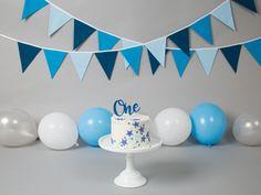 Boys First Birthday Cake, Boys 1st Birthday Party Ideas, 1st Birthday Photoshoot, Baby Boy 1st Birthday Party, Diy Birthday Decorations, Boy Birthday Pictures, Baby Cake Smash, Birthday Backdrop, Blue Grey