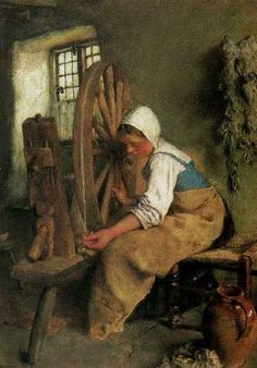 The Spinning Wheel, a painting by William John Wainwright (1855-1931)