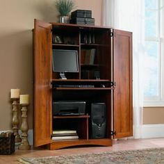 space saver storage   ... -Computer-Armoire-Abbey-Oak-Desk-Storage-Space-Saver-Compact-Printer